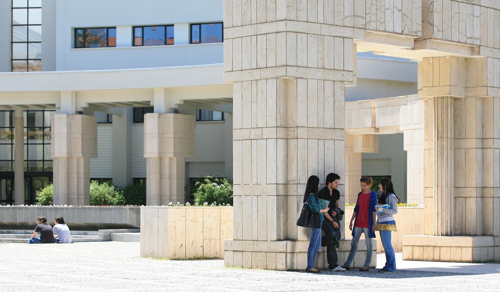 Bilkent students outside A Building
